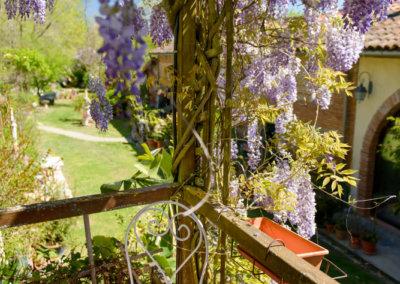 Terrasse ombragée du jardin arrière